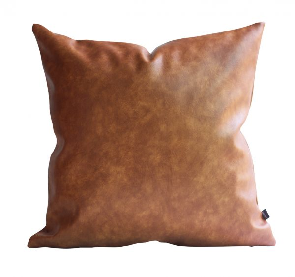 Brown Faux Leather Pillow Cover front