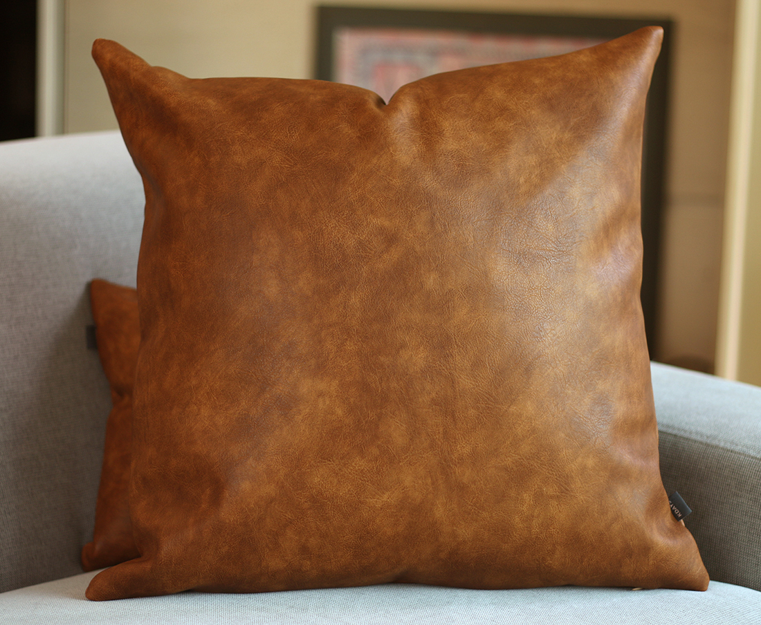 Brown Faux Leather Pillow Cover Couch Throw Pillow